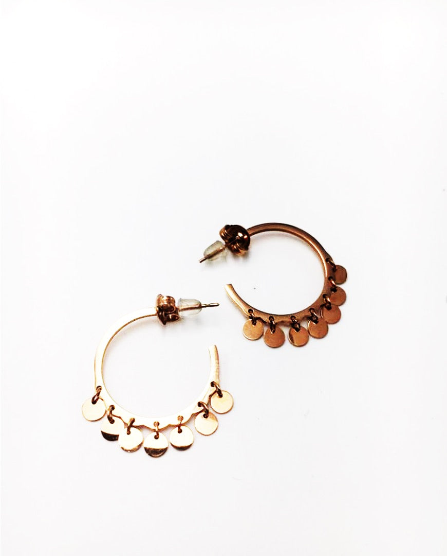 Gold-plated hoop earrings with medals - 012