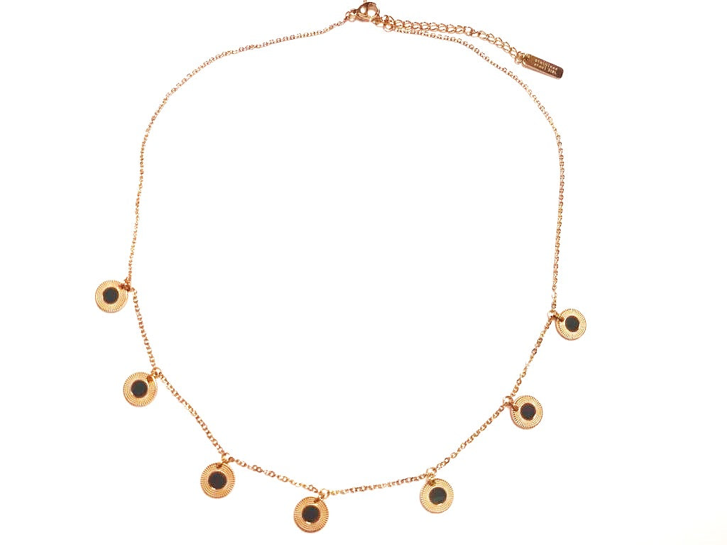 Gold-plated steel necklace with colored medals - 010
