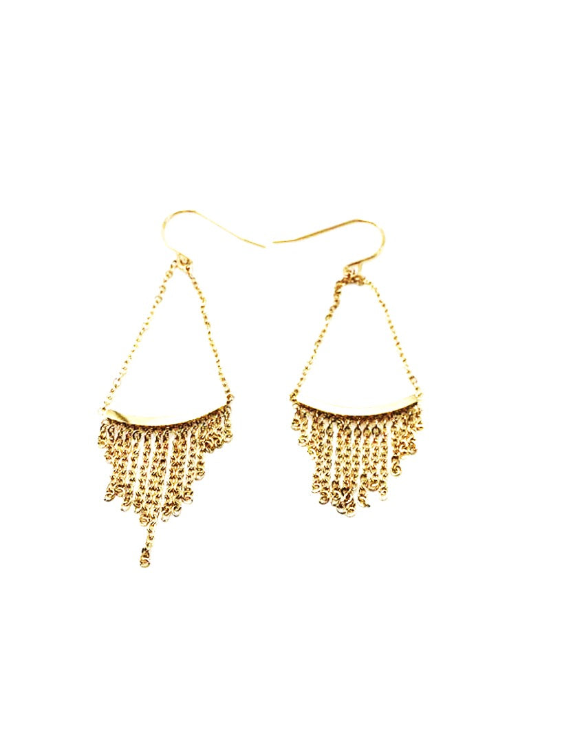 Golden earrings with fringes in micro chains - 005