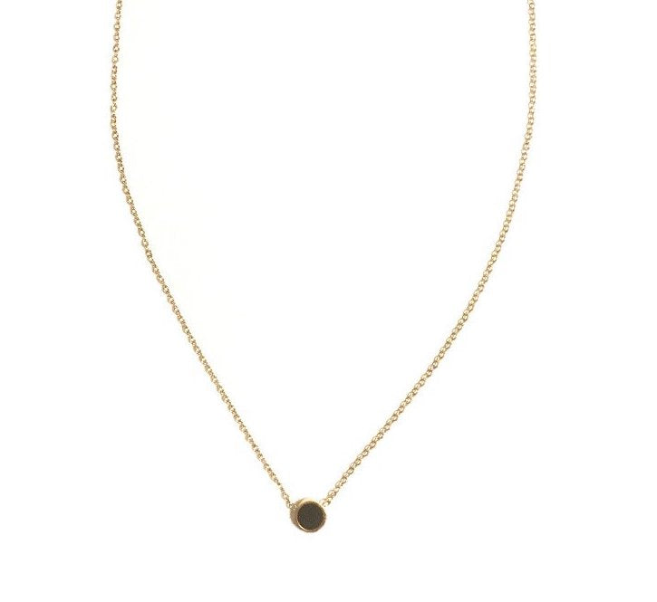 Gold necklace with cabochon black stone pendant - 001