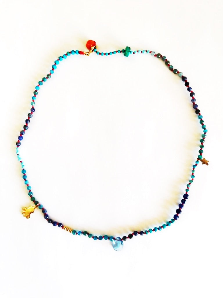Choker necklace semiprecious stones with knots - 015