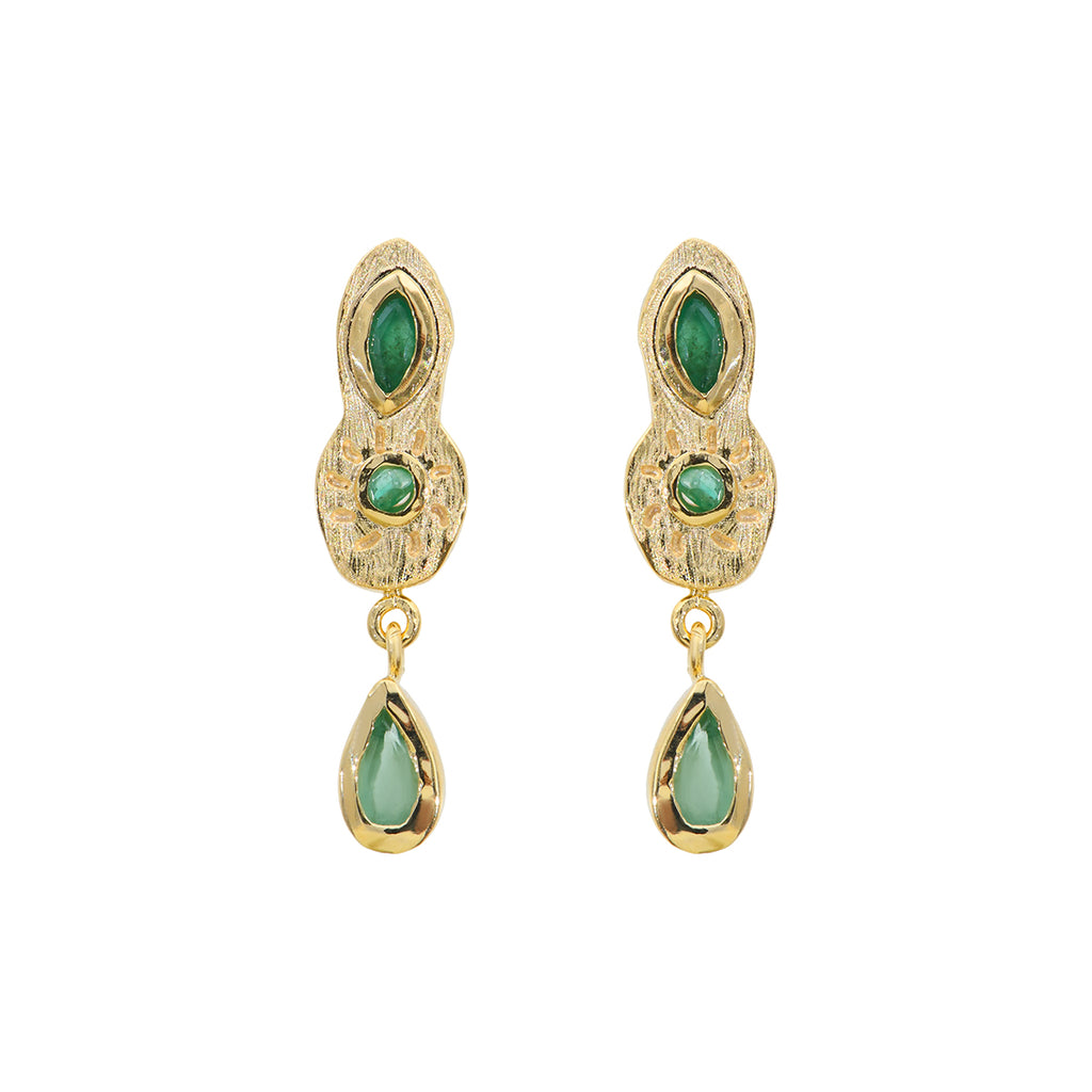 Drop earrings with small emeralds - 006
