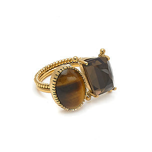 Ring with semi-precious stones. Tiger's Eye and Quartz - 001