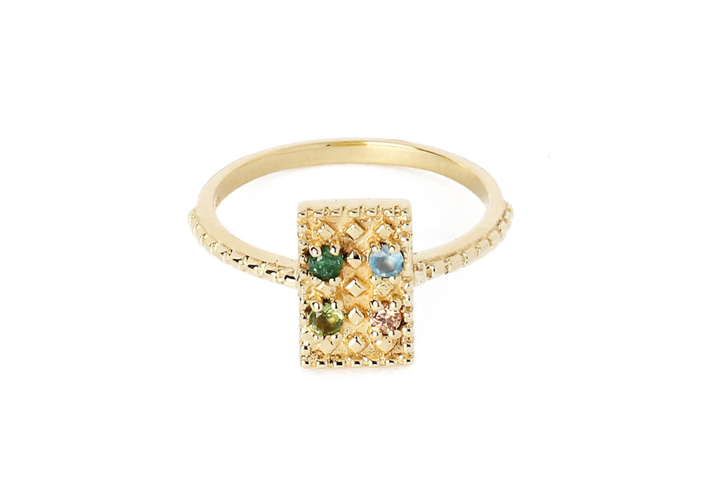 Ring with rectangle and small semi-precious stones - 011