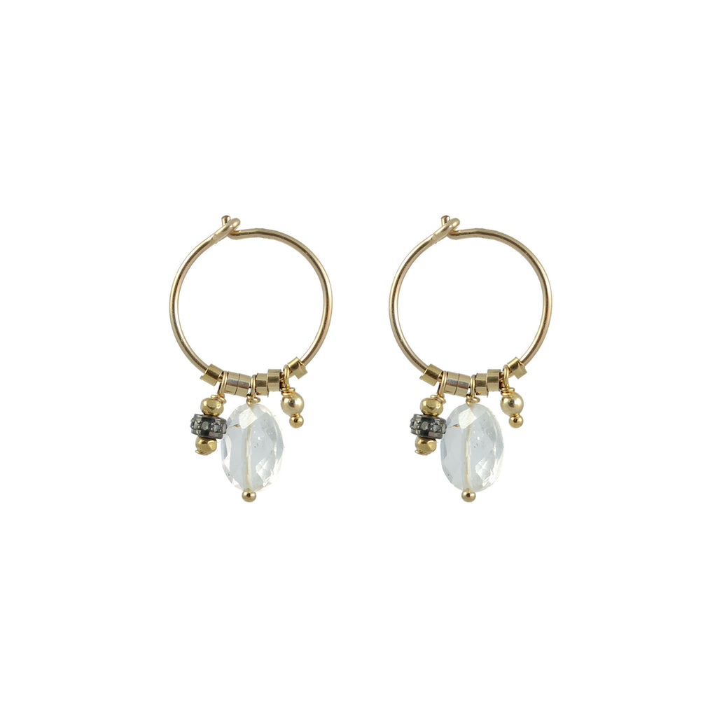 Small hoop earrings with semi-precious stone charm  -  005