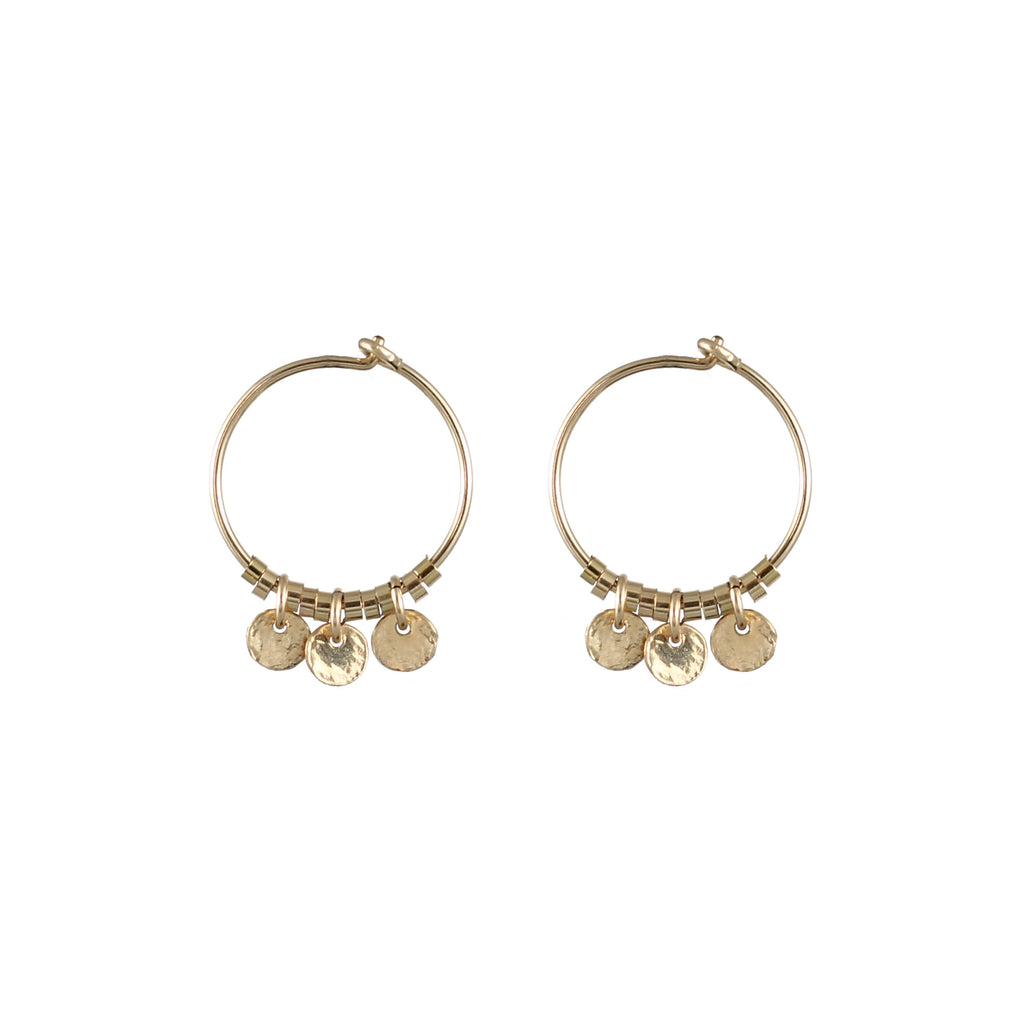 Small hoop earrings with gold-plated medals – 006