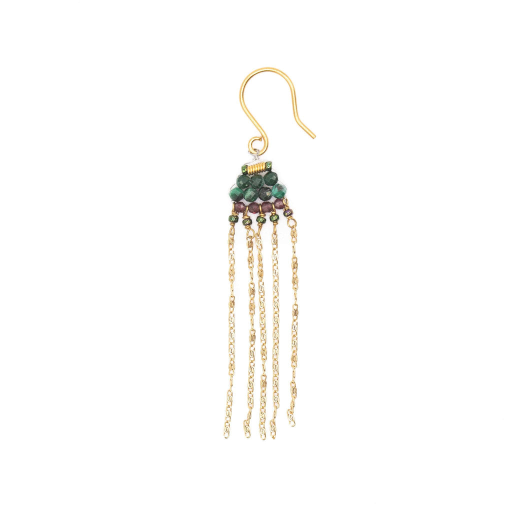 Dangle earrings with fringes and semi-precious stones - 004