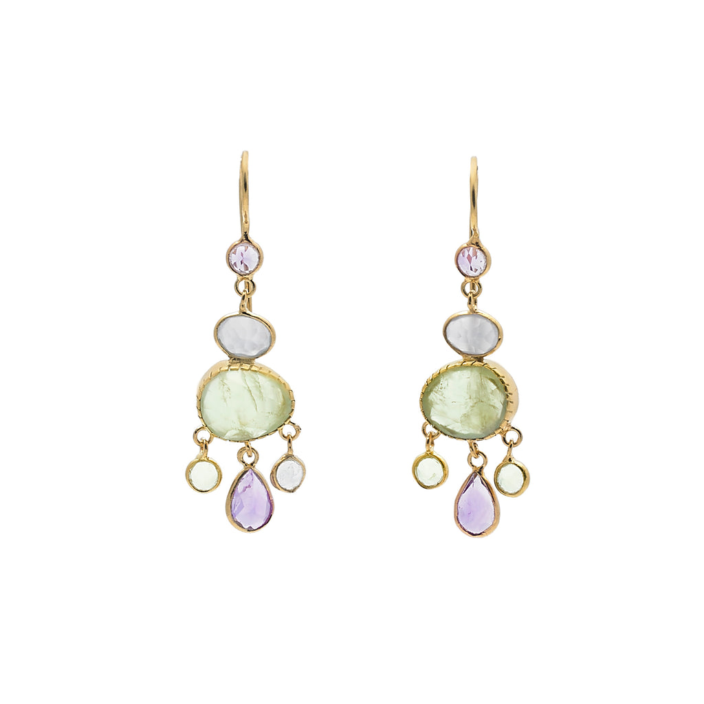 Pendant earrings with semi-precious stones-007
