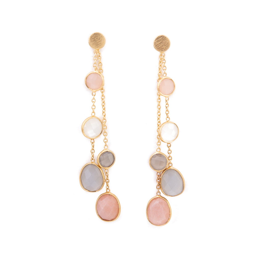 Pendant earrings with semi-precious stones - 004