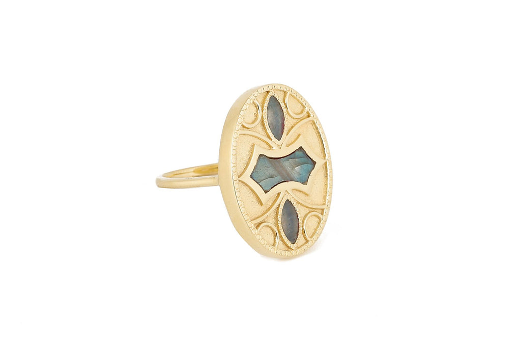 Oval ring with stones - 013