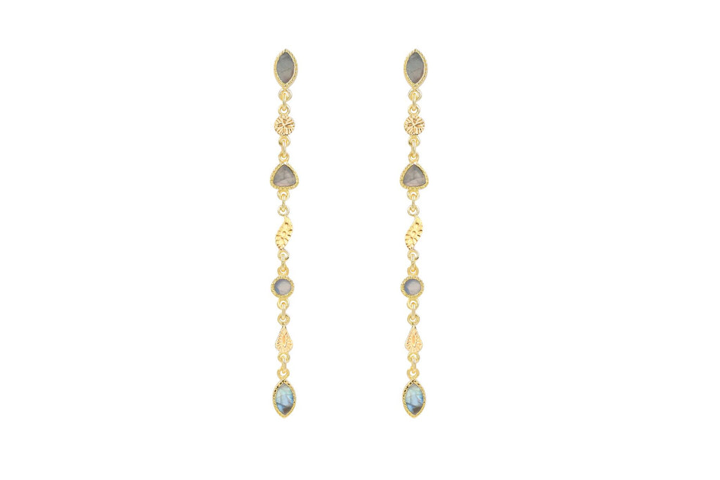 Drop earrings with semi-precious stones - 007