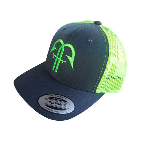 Classic Retro Trucker - Charcoal / Neon Green