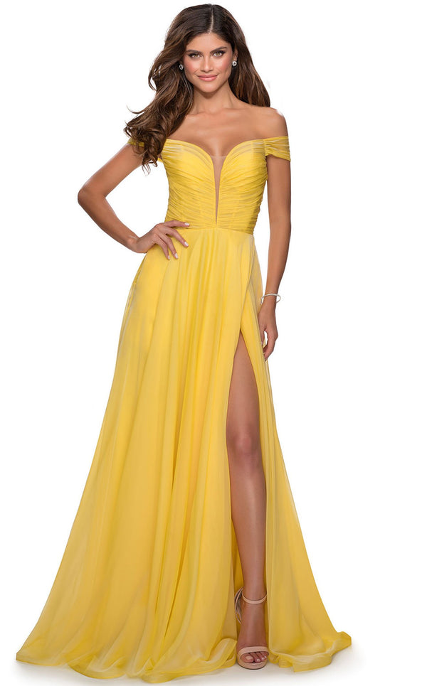 La Femme 28546 Dress Yellow
