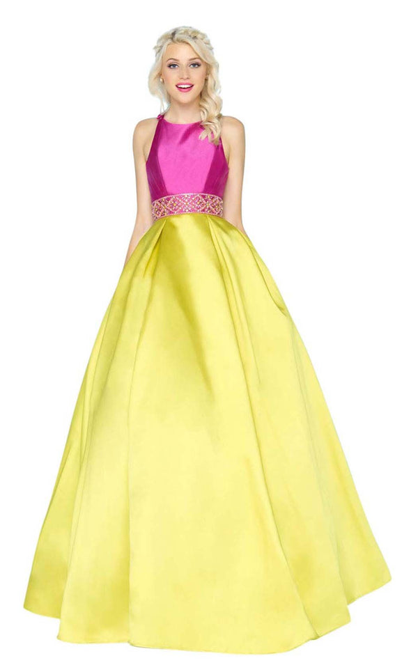 Mac Duggal 48581H Orchid-Chartreuse