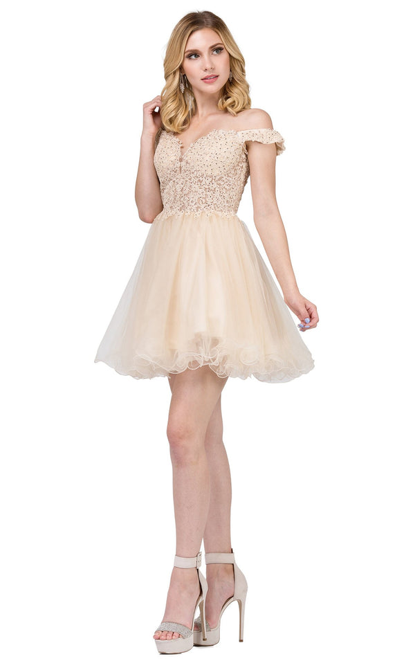 Dancing Queen 2248 Dress Champagne