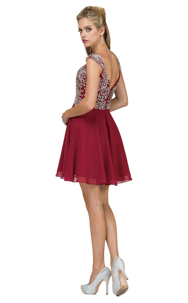 Dancing Queen 9160 Dress Burgundy