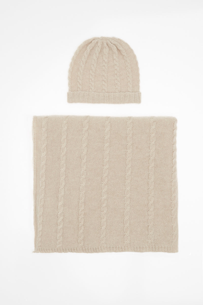 Baby Blanket and Hat Set with Cable Detail