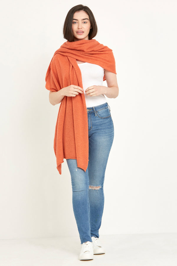 Cashmere Travel Wrap Tangerine