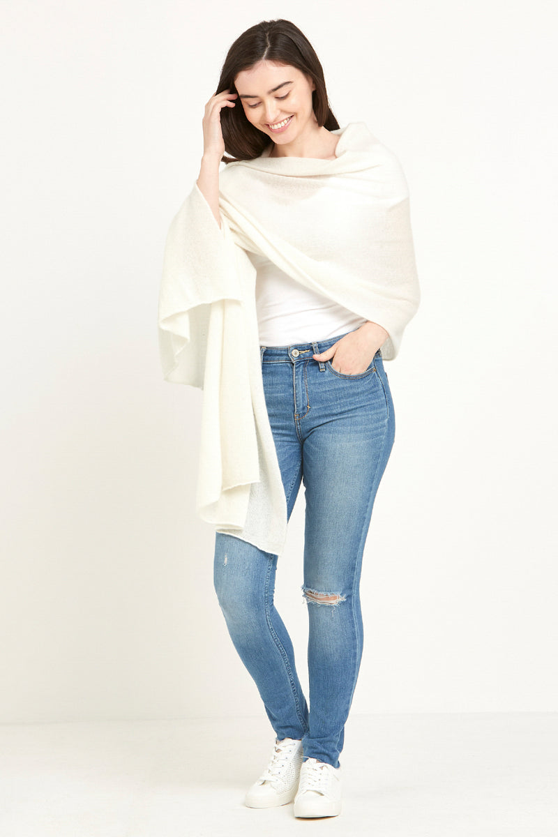 Cashmere Travel Wrap Winter White