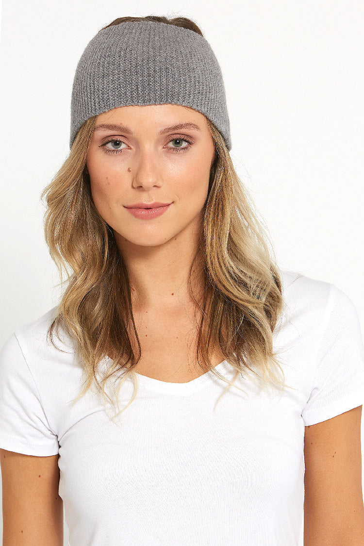 merino blend stretchy purl knit headband in grey