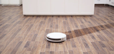 Roborock robot is cleaning the floor