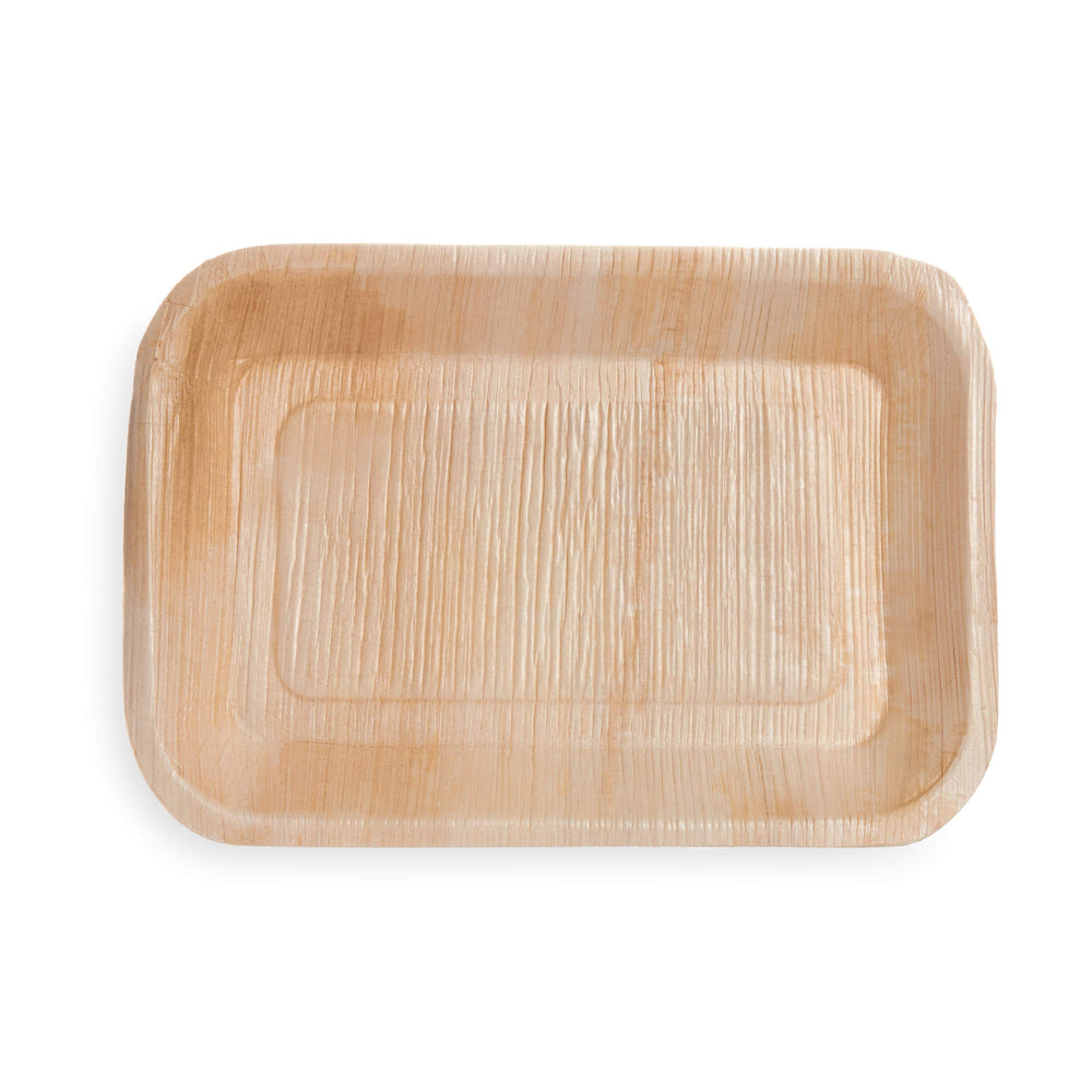 "9""x 6"" Rectangle Palm Leaf Tray - 25 Pack"