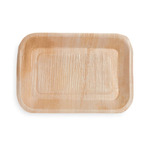 "9""x 6"" Rectangle Palm Leaf Tray - 25 Pack - The Good Plate Company"