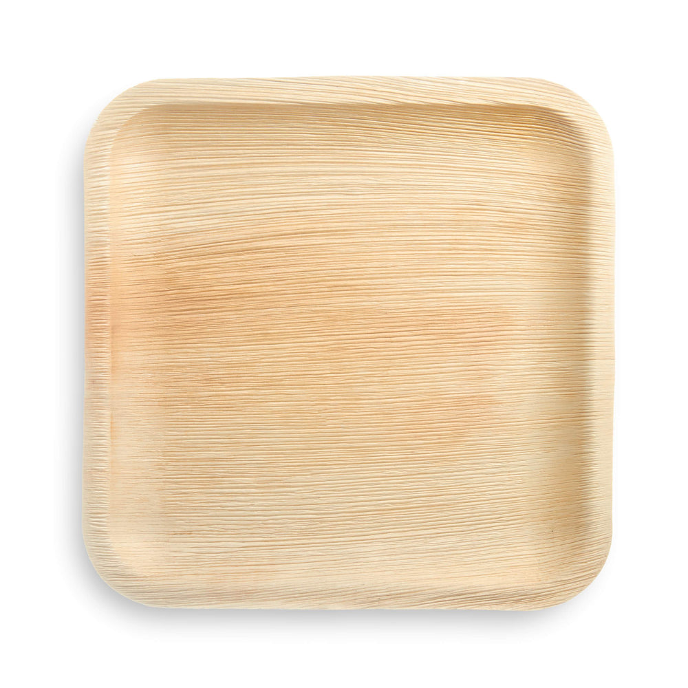 "10"" Square Palm Leaf Plate - 25 pack"