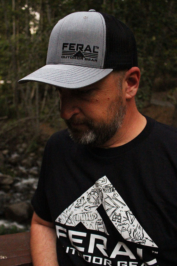 "Feral ""Classic"" Snap-Back Trucker Hat - Heather Gray/Black"