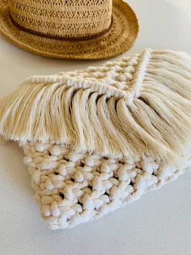 'Natural Sand' Woven Clutch