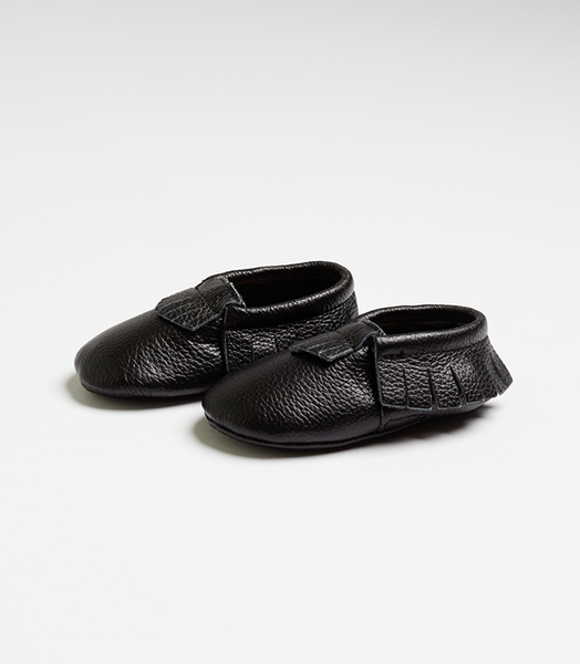 Black Nuna Leather Moccasins