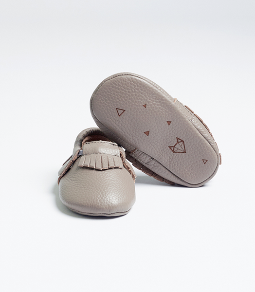 Grey Nuna Leather Moccs