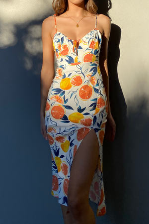 Marilla Midi Dress - Citrus Print