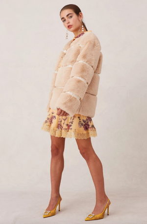 Gleam Fur Coat in Creme