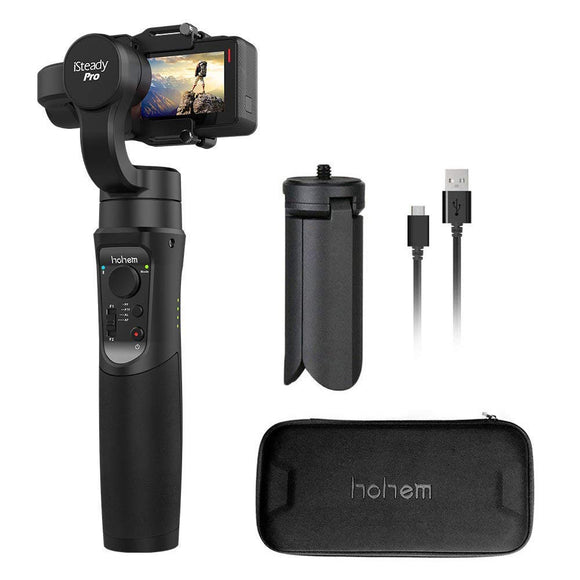 Hohem Gopro Gimbal iSteady Pro 3-Axis Stabilizer Handheld Action Camera for Gopro Hero 7/6/5/4/3 DJI osmo Action Yi Cam 4K, AEE, SJCAM Sports Cams APP Controls for Time-Lapse, Tracking, Auto Panoramas - VideoBizAzon Store