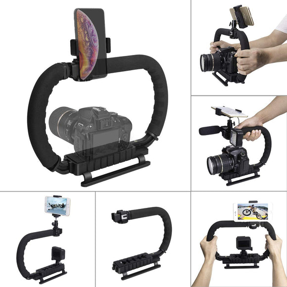 DSLR/Mirrorless/Action Camera Camcorder Phone Stabilizer 3-Shoe 2-Handed Vlog Video Holder Rig Low Position Shooting Steadycam Mount Detachable Grip Fit for GoPro Sony Canon Nikon DV iPhone Samsung - VideoBizAzon Store