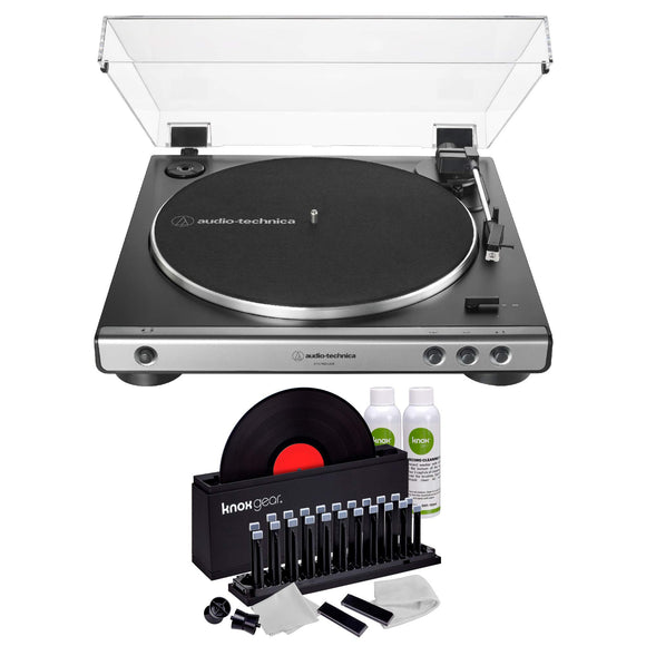 Audio-Technica AT-LP60X USB Fully Automatic Belt-Drive Stereo Turntable (Gunmetal) with Knox Gear Vinyl Record Cleaner Kit - VideoBizAzon Store