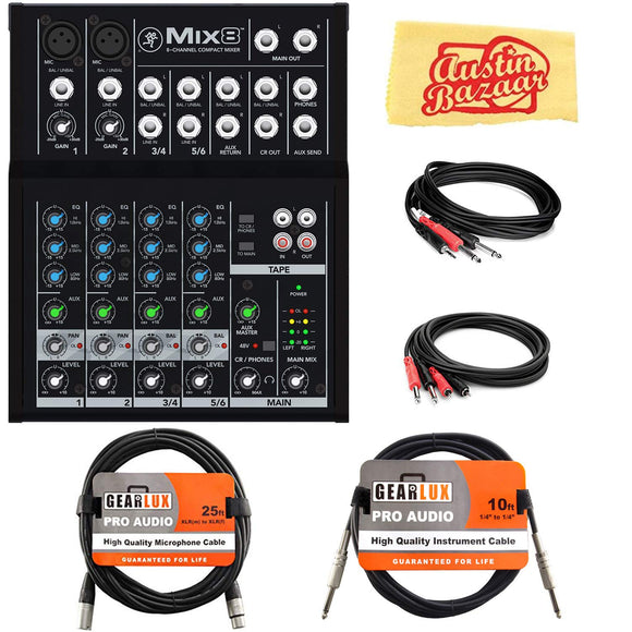 Mackie Mix8 8-Channel Compact Mixer Bundle with XLR Cable, Instrument Cable, Stereo Breakout Cable, Dual 1/4