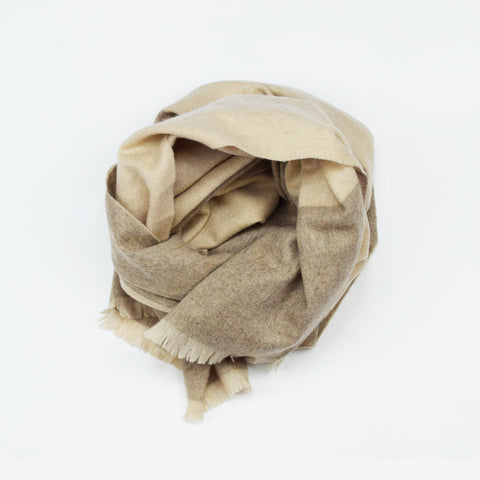 Organic Fine Wool Scarf - Coffee & Cream Plaid