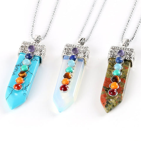 "Collier - ""Concentration des 7 Chakras"" en pierres naturelles"