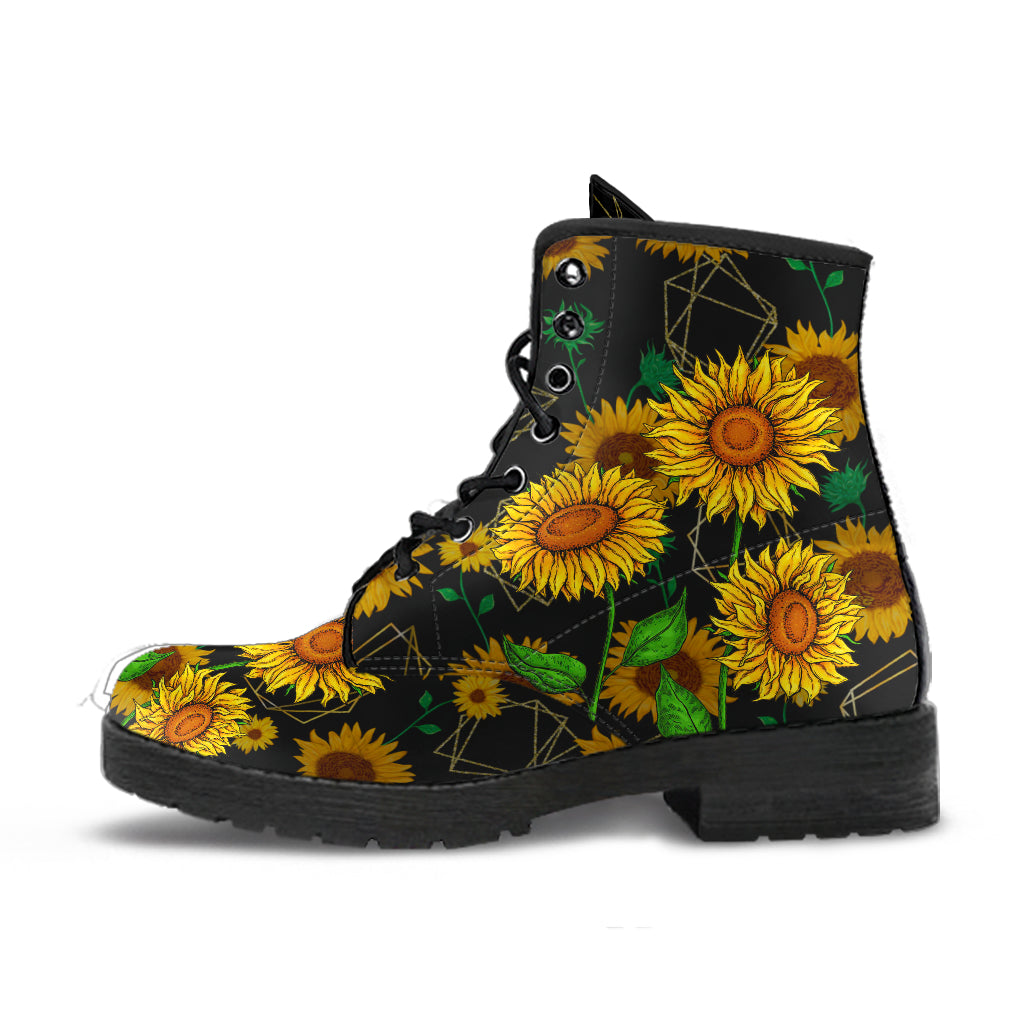 Sunflower Leather Boots - Wonder Hippie Official