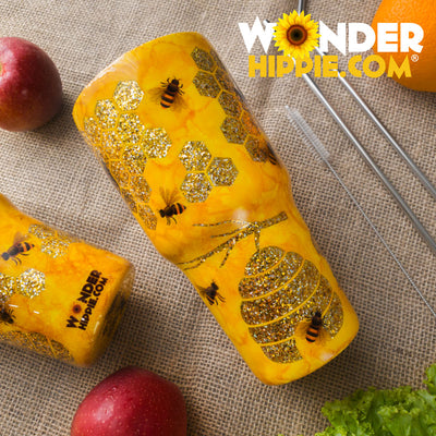 Custom Hand Made Honey Bee Tumbler Travel Cup - Wonder Hippie Official