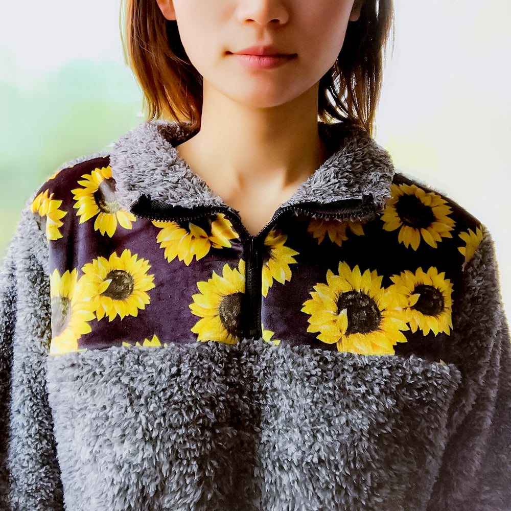 Gray Faux Fur Sunflower Pullover with Zip Neck - Wonder Hippie Official