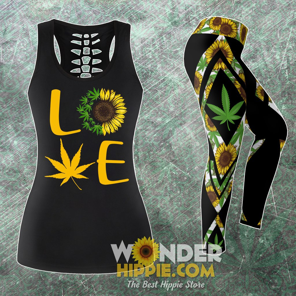 Combo Cannabis Sunflower Tank Top & Leggings Outfit - Wonder Hippie Official