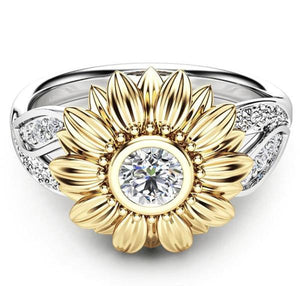 Premium Version - Exquisite Crystal Sunflower Ring