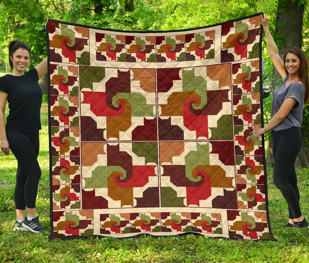 Cats And Friends Pattern Premium Quilt 2