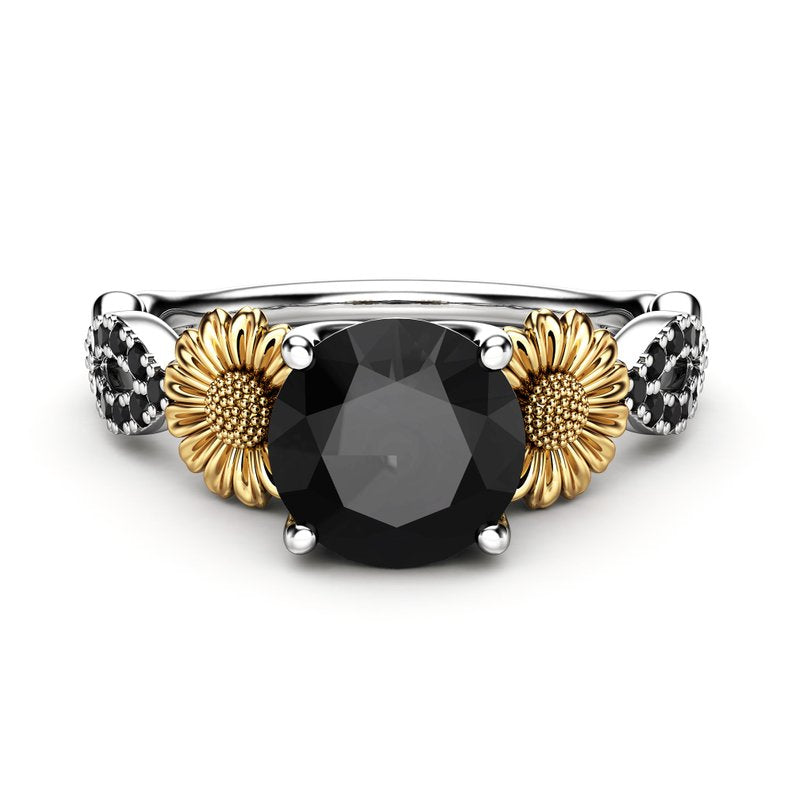 950 Sterling Silver - Natural Black Stone Silver Sunflower