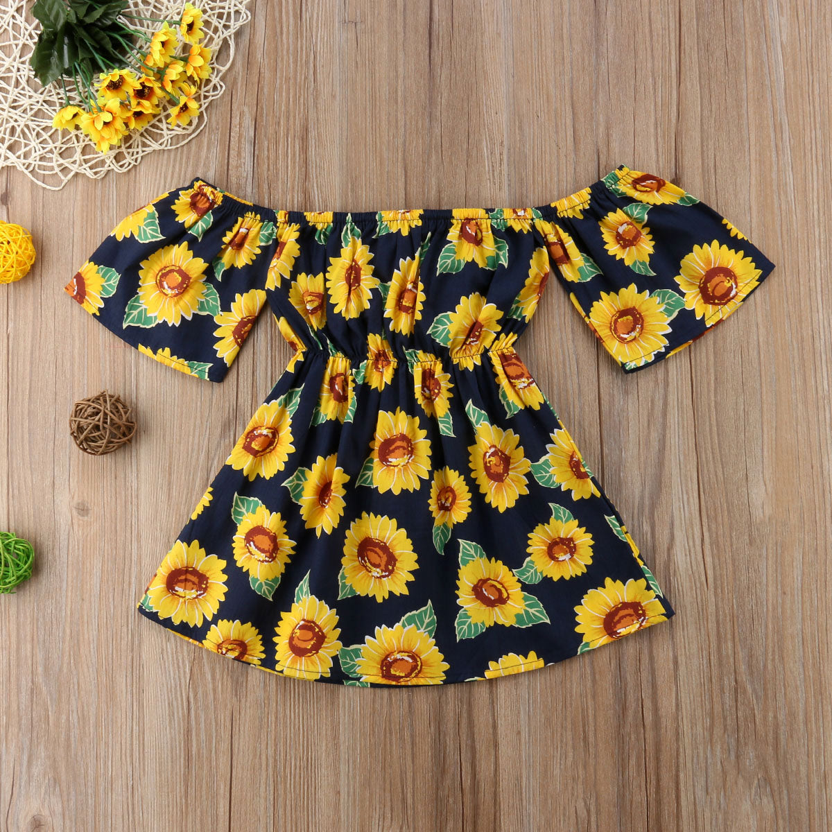 Toddler Dress Sunflower Print Off Shoulder Sundress For Daughter, Girl - Wonder Hippie Official