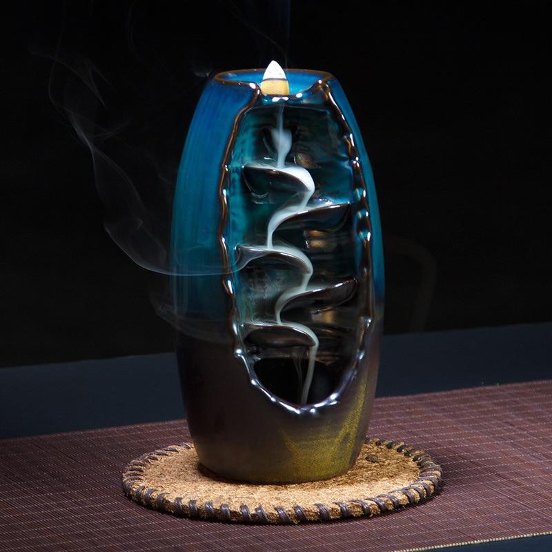 Home Decor Ceramic Waterfall of Smoke + 10Pcs Incense Cones