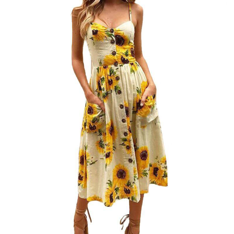 Sexy Sunflower Beach Dress Bohemian Style